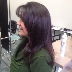 Deep chocolate brown ammonia free colour MATTHEW JONATHAN STYLIST:SALON OAKVILLE